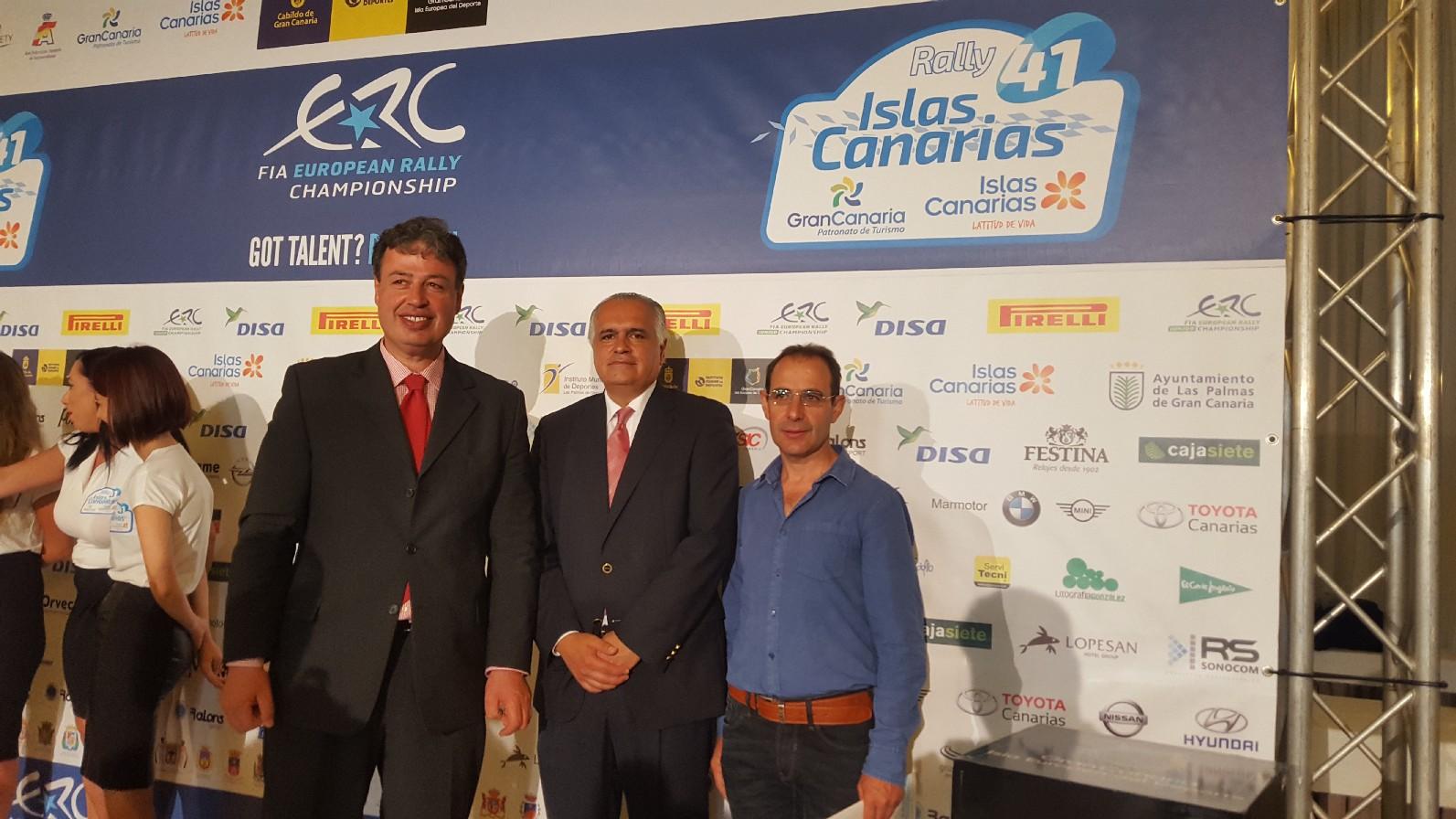 Antonio Ortega y Miguel Reyes en la presentacion del Rallie Islas Canarias