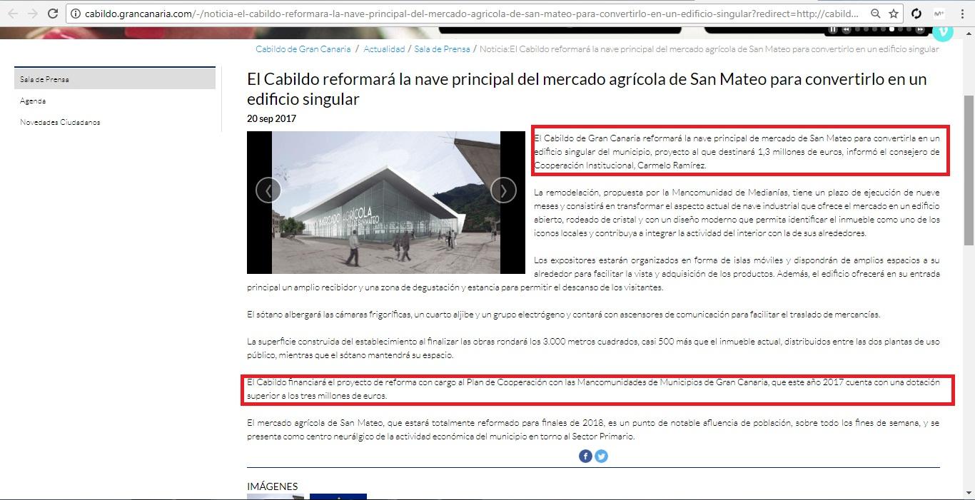 Cabildo se agencia la obra del Mercado de San Mateo