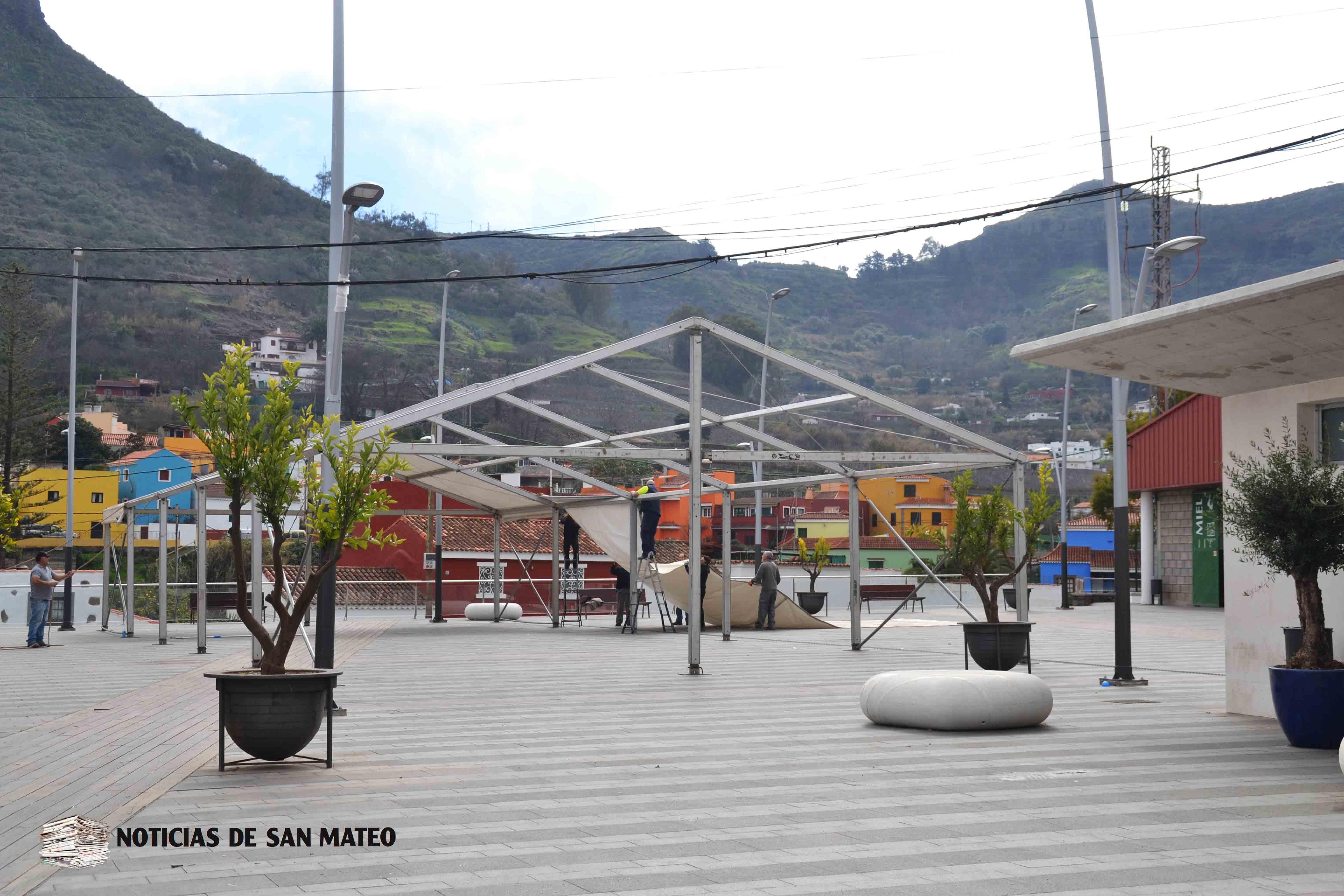 Carpa instalada en Plaza del Mercado Foto Laura Miranda Noticias de San Mateo
