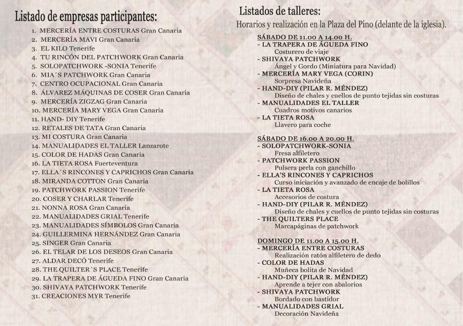 Listado stands feria patchwork 2017