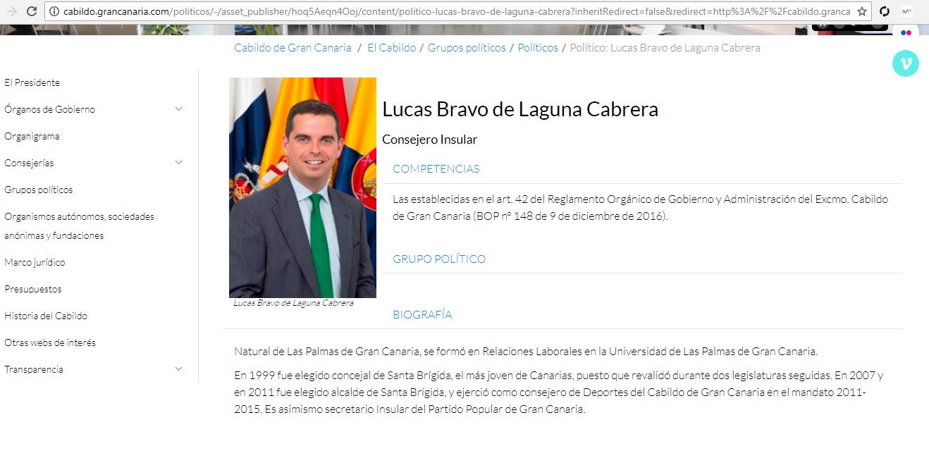 Lucas Bravo en web Cabildo