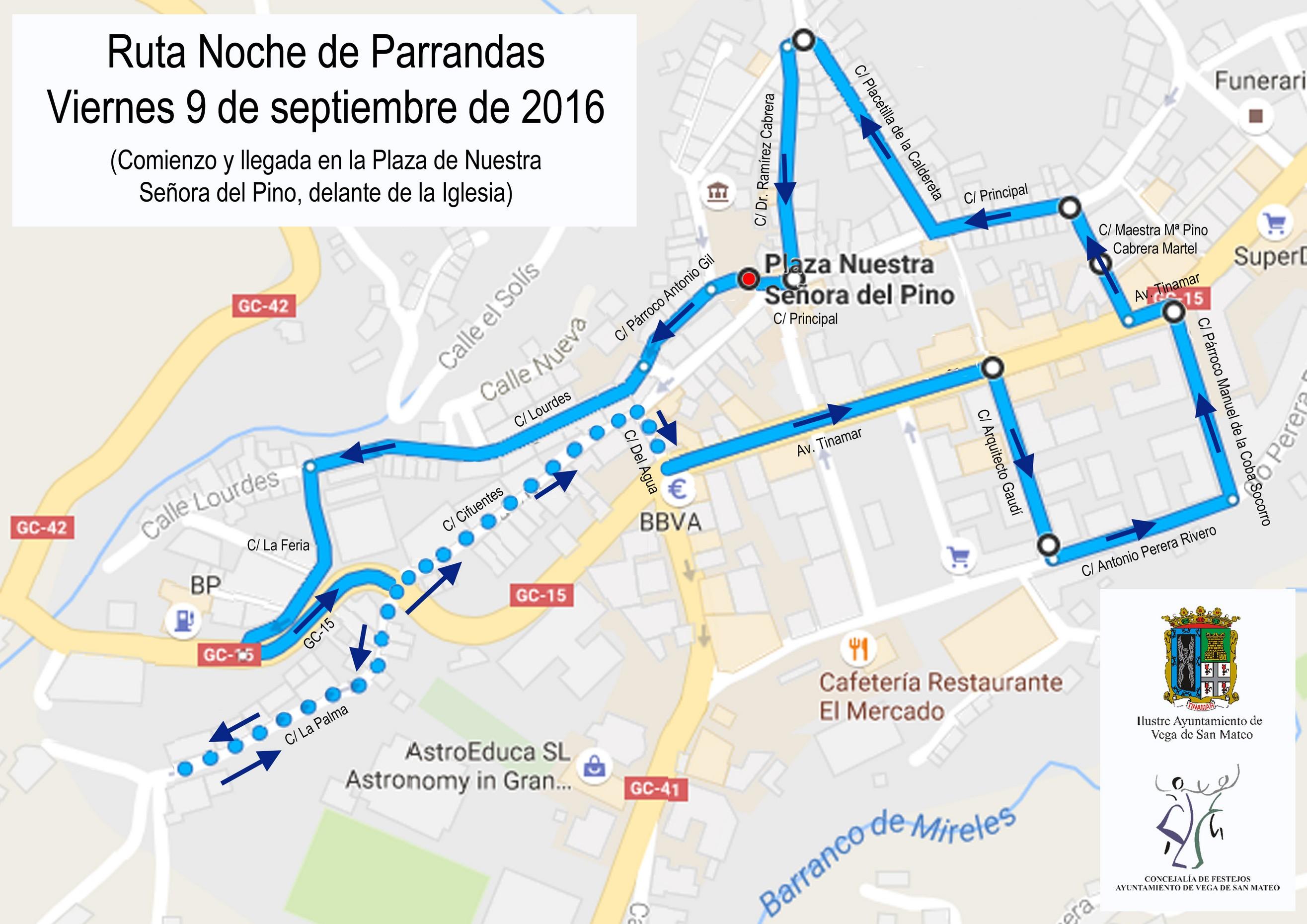 Noche de Parrandas 2016 ruta