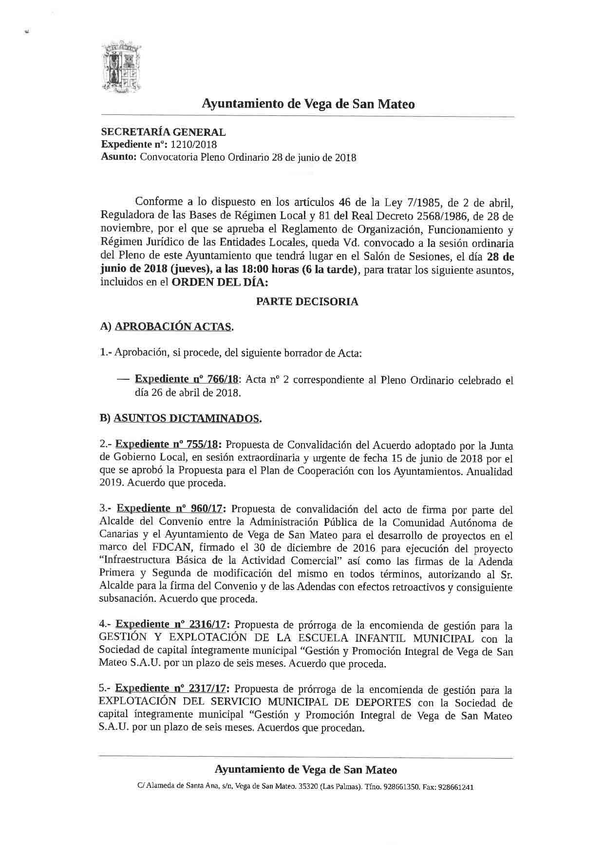 Orden del dia pleno 28 de junio 20181