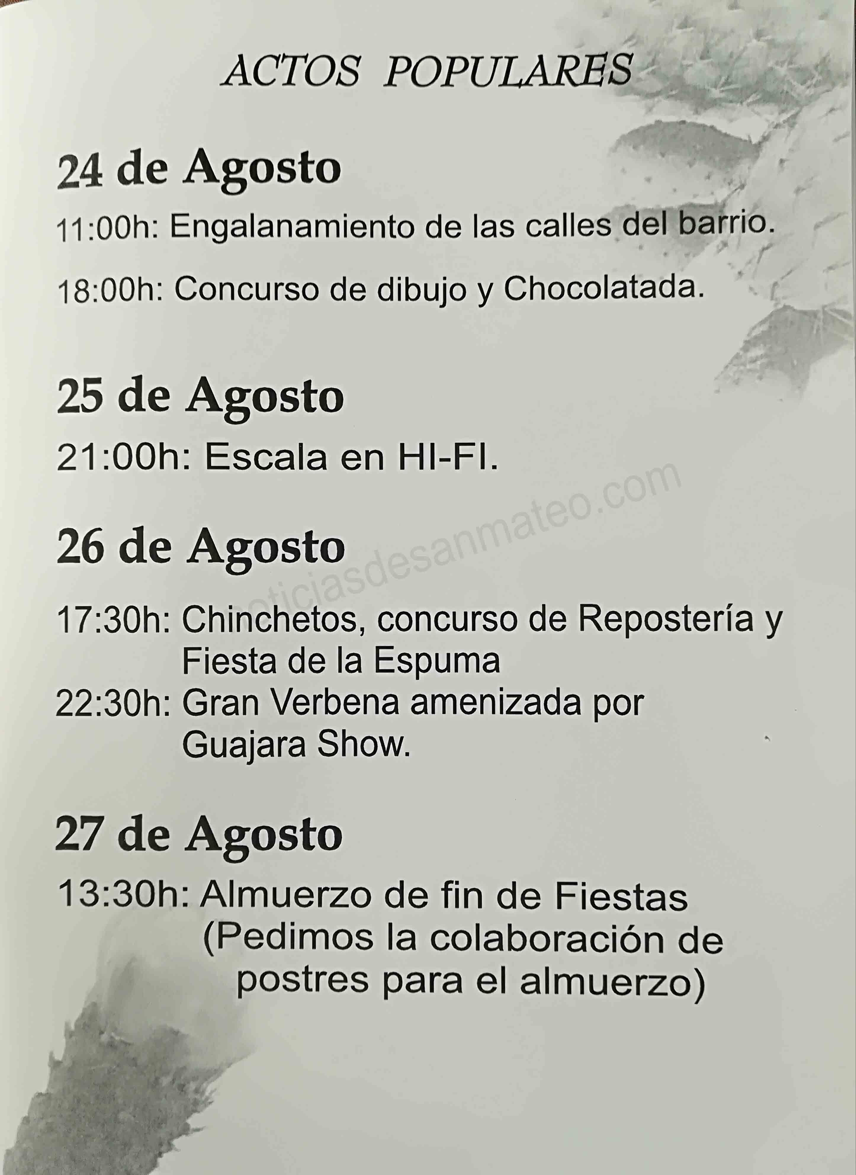Programa actos Fiestas de El Chorrillo 2017