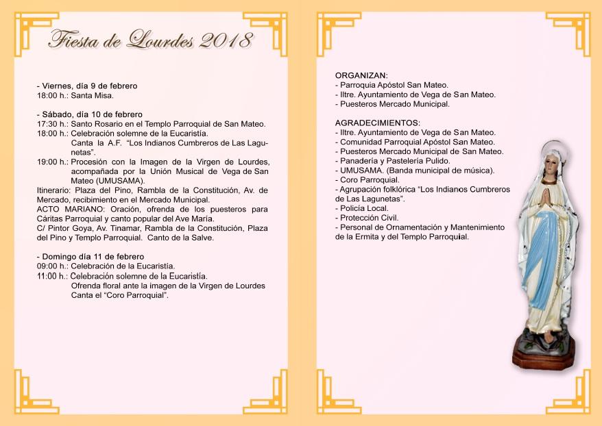 Programa actos Fiestas de Lourdes 2018