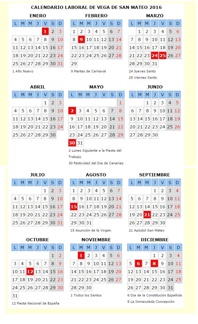 calendario laboral vsm 2016