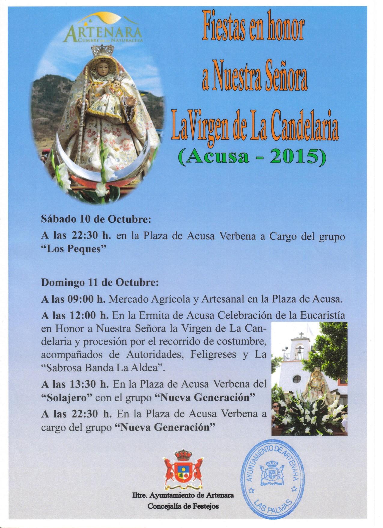 Cartel Fiestas Artenara 2015